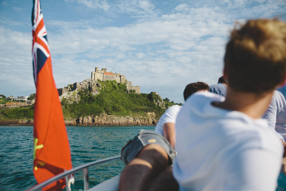 View of Mont Orgueil Castle from the sea, Jersey.
