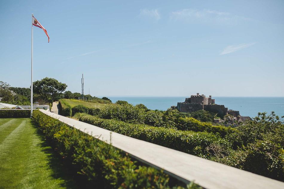 Hill top view of Mont Orgueil Castle, Jersey