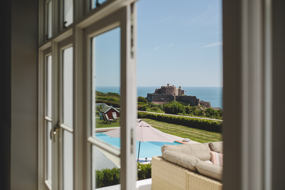View of Mont Orgueil Castle at a wedding in Jersey, Channel Islands