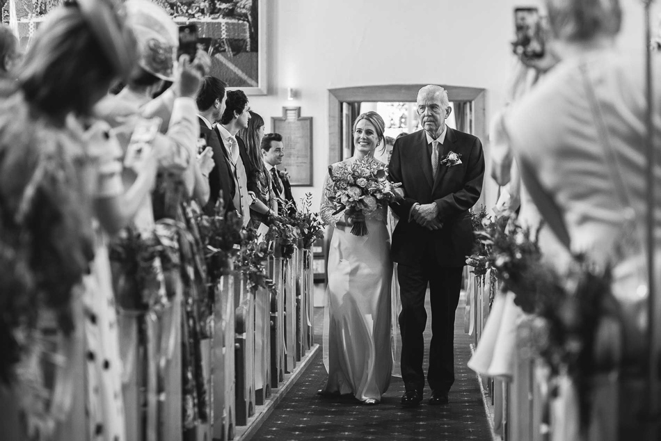 Jersey wedding photography - bride walking down the aisle