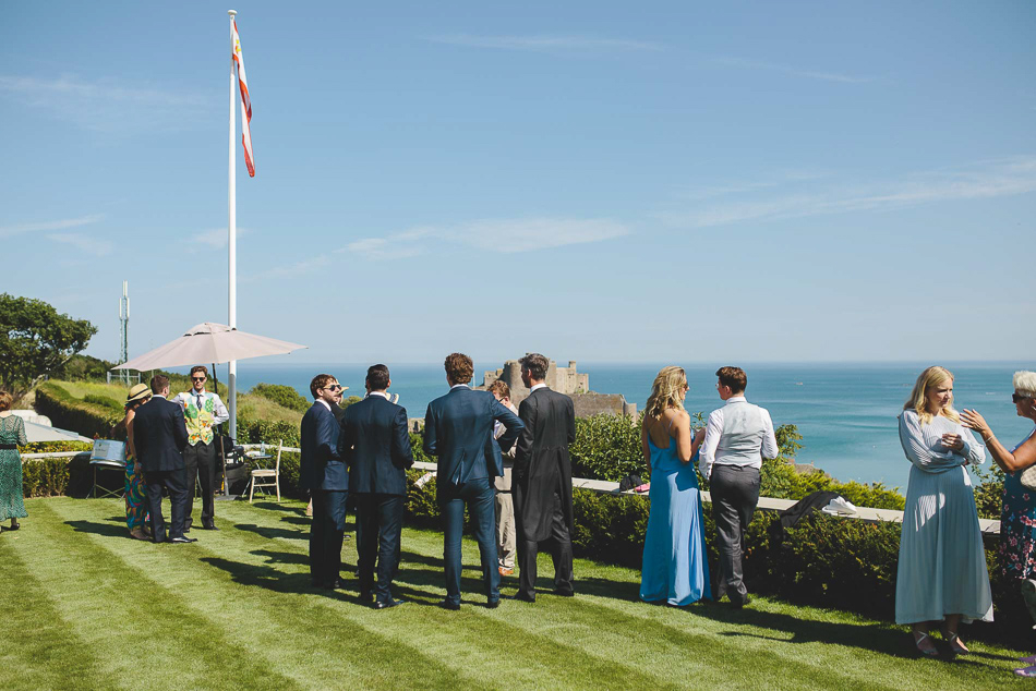 Wedding guests at a wedding in Jersey, Channel Islands