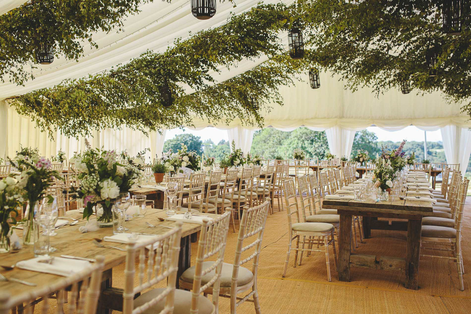 The wedding reception marquee at a wedding in Jersey, Channel Islands