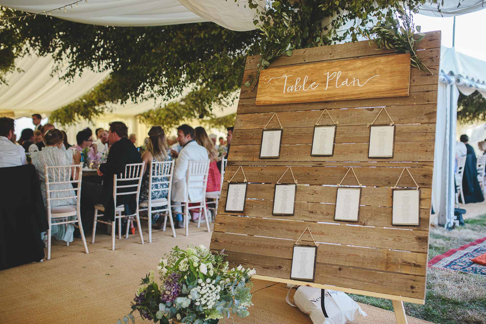 The Table plan at a wedding in Jersey, Channel Islands