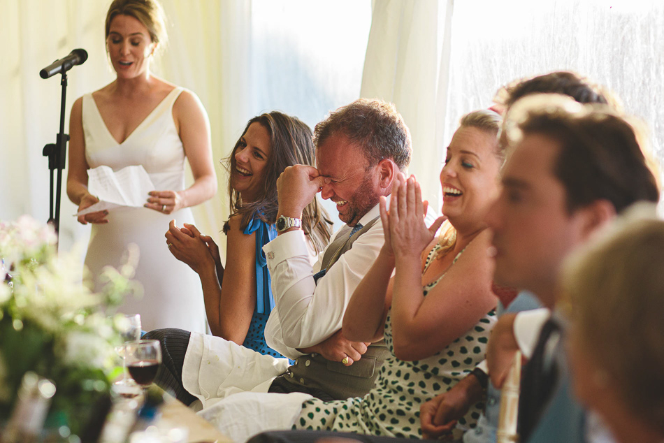 The brides speech guests reactions at a wedding in Jersey, Channel Islands