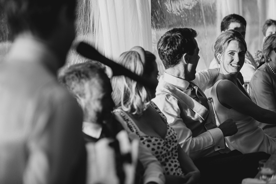 Brides reaction at a wedding in Jersey, Channel Islands