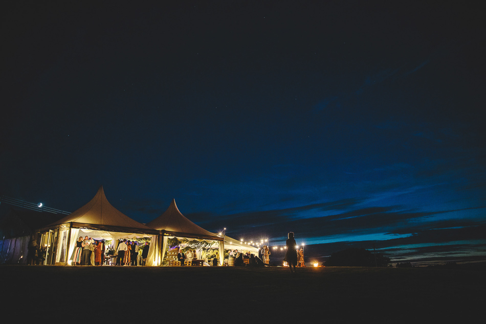 The marquee at night. Jersey wedding photography.