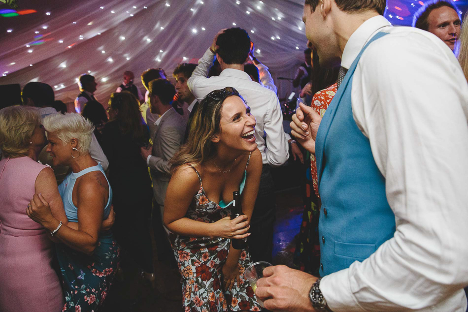 Guests dancing at a wedding in Jersey, Channel Islands