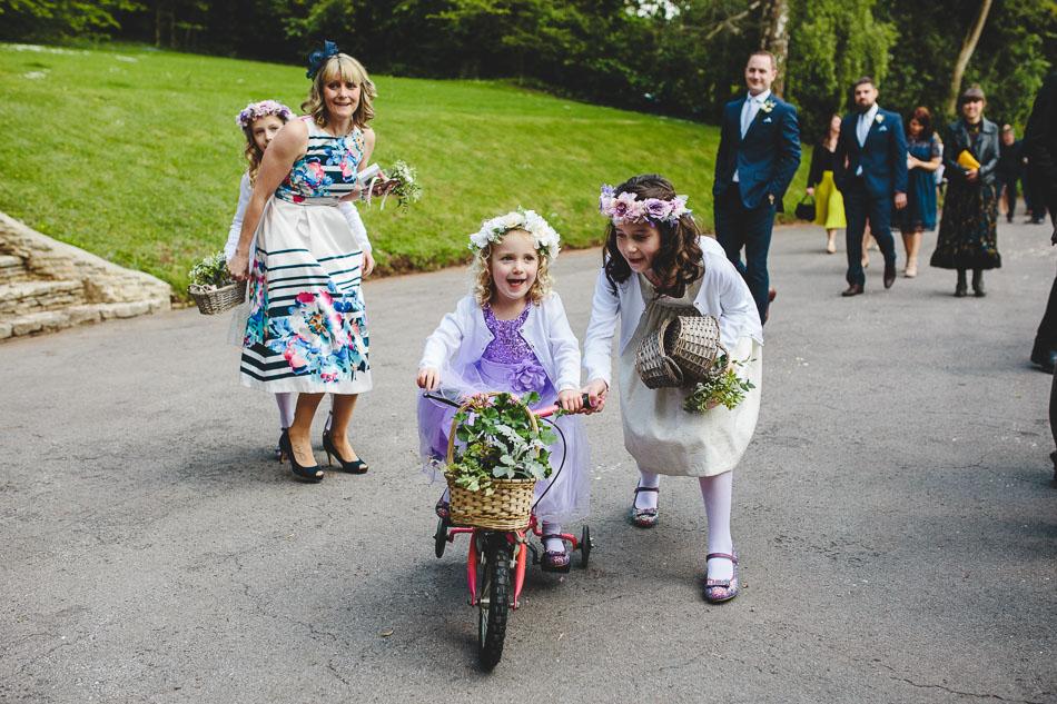 Flower girl on a bike