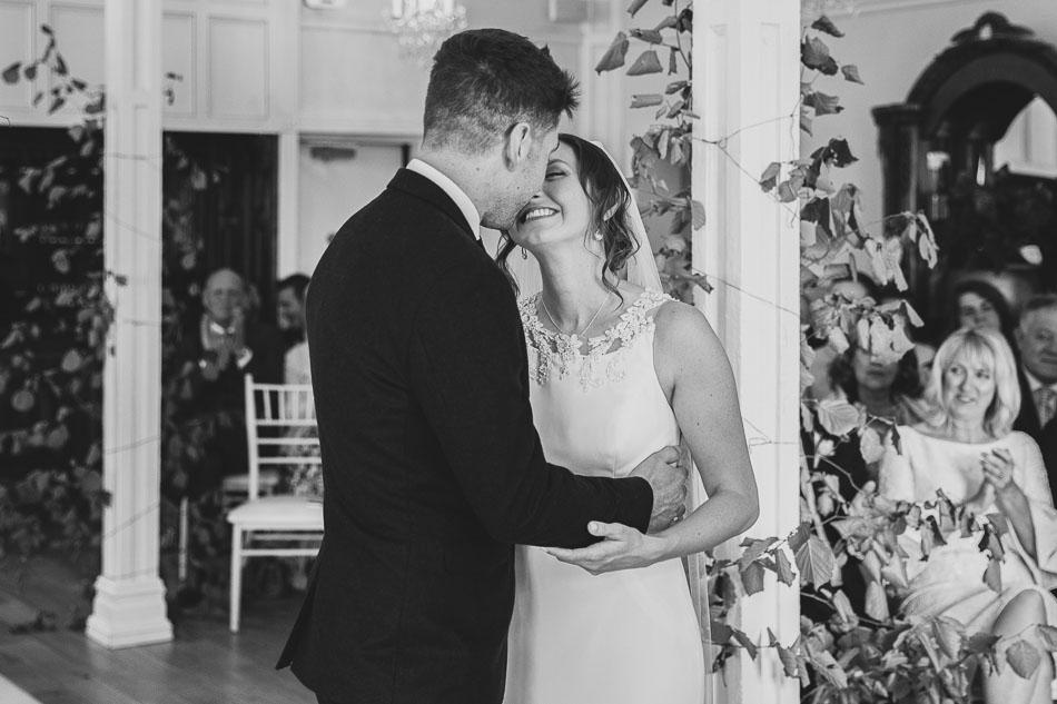 Berwick Lodge Wedding Ceremony First Kiss