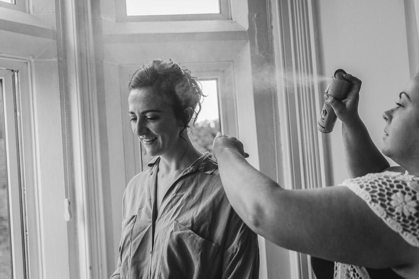 bridesmaid and hairspray