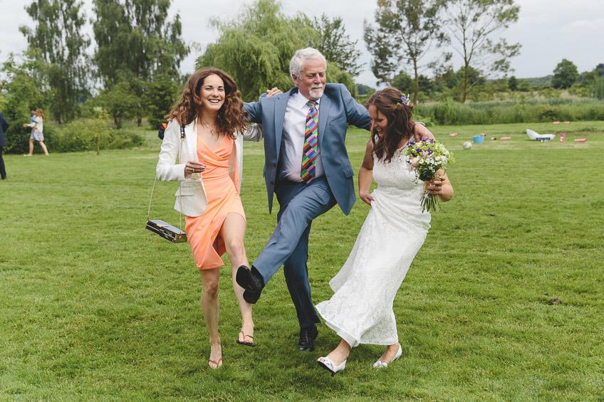 guests dancing in field
