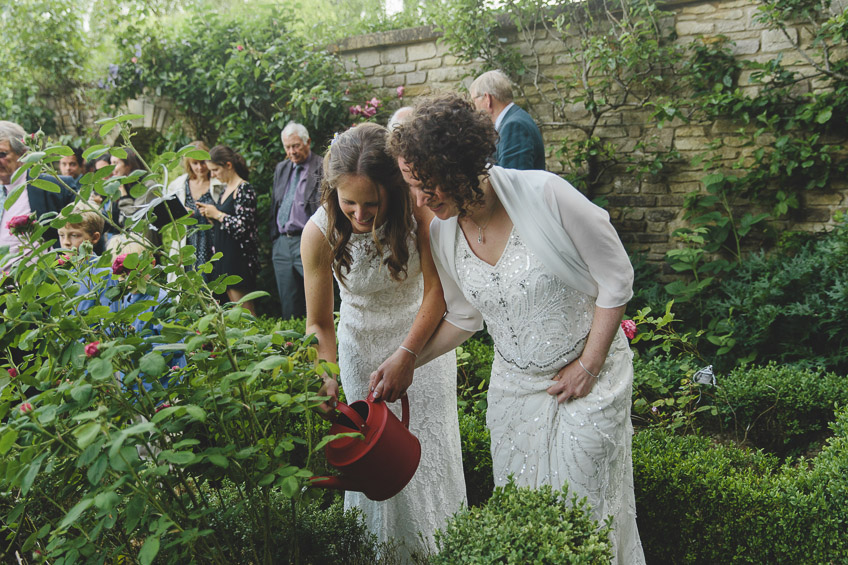 brides watering the plant