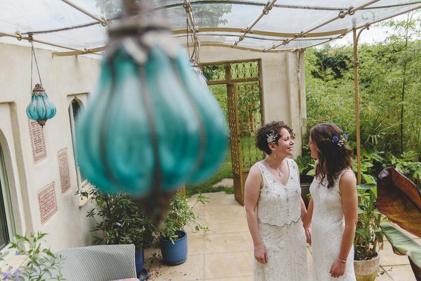 Portrait of two brides
