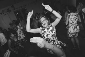 wedding guest dancing at the Matara Centre